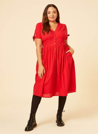 Natalie Red Button-Through Cotton Tea Dress Model Front
