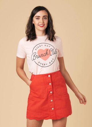 Sarah Scallop A-Line Denim Skirt Red Model Close-Up
