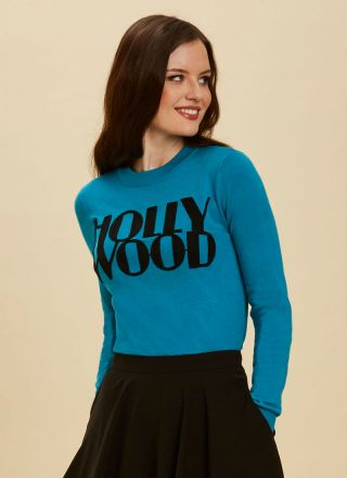 Oscar Hollywood Slogan Jumper Close-Up