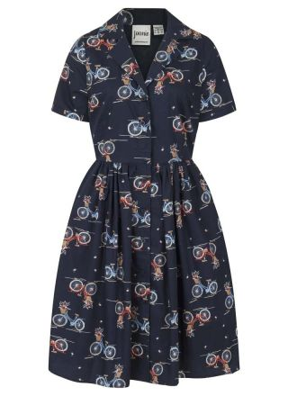 Pepper Navy Bicycle Print Shirt Dress Product Front