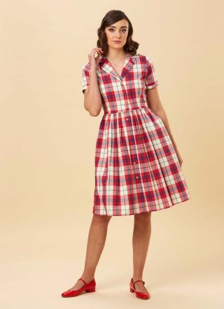 Pepper Check Shirt Dress Red Model Front