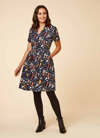 Pepper Craft Print Shirt Dress Model Front