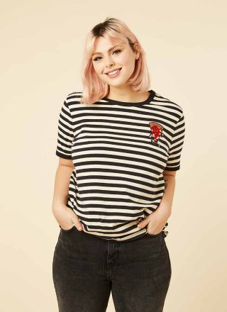 Pete Stripe Pizza Patch Tee Model Front