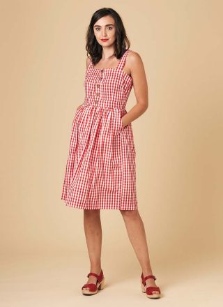Rani Cotton Gingham Sundress Red Model Front