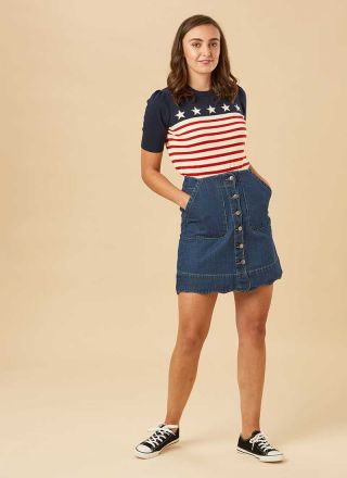 Sarah Scallop A-Line Denim Skirt Model