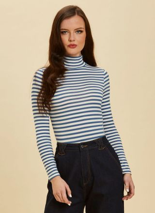Selina Roll Neck Body Suit Blue Stripe Close-Up