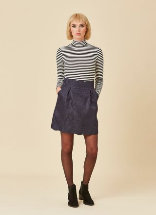 Suzy Navy Scallop Skirt Pockets Model Front