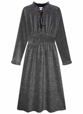 Sparky Metallic Midi Dress Silver Product Front