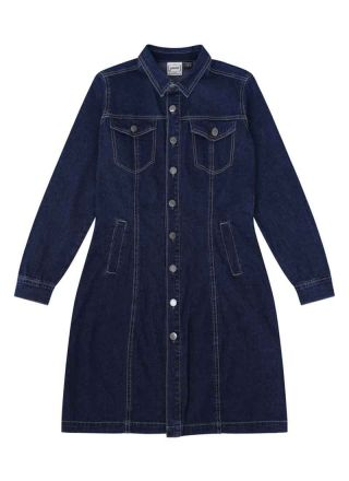 Trucker Mid-Wash Denim Shirt Dress Product Front