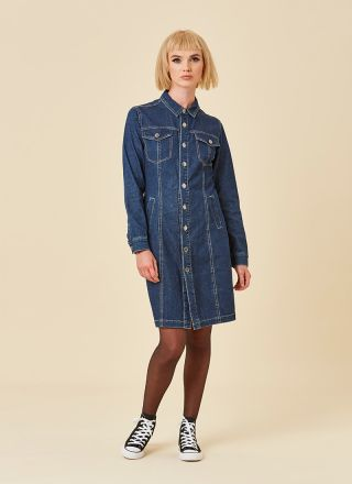 Trucker Mid-Wash Denim Shirt Dress Model