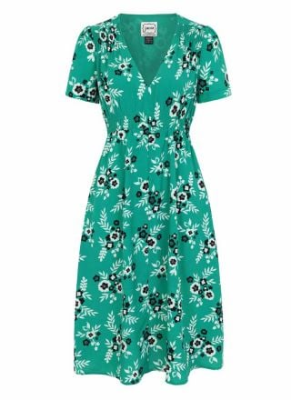 Venus Green Floral Print Midi Dress Product Front