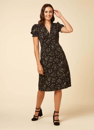 Venus Astrological Print Midi Dress Model Full