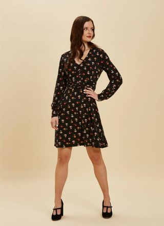 Veronica Floral Print Jersey Dress Full Front View