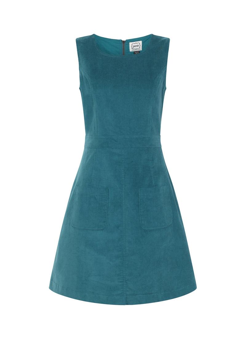 Daphne Patch Pocket Blue Pinafore Dress Product Front