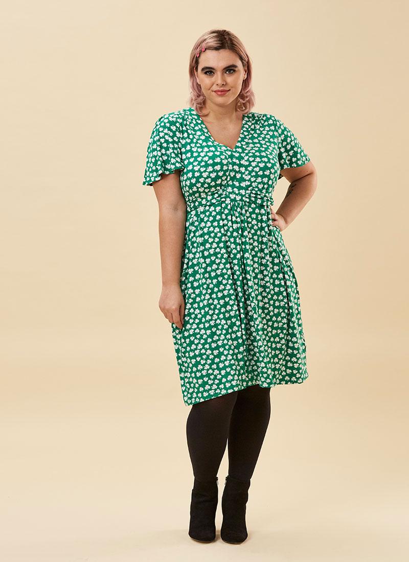 Alexis Clover Print Jersey Dress Model