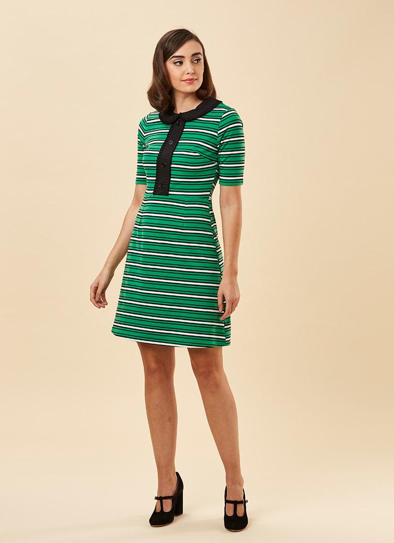 Floella Pepper Green Dress Model Full Front