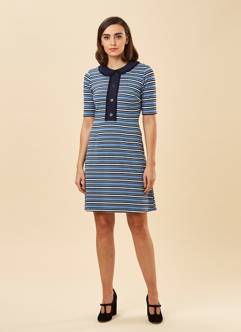 Floella Stripe Collar Dress - Blue