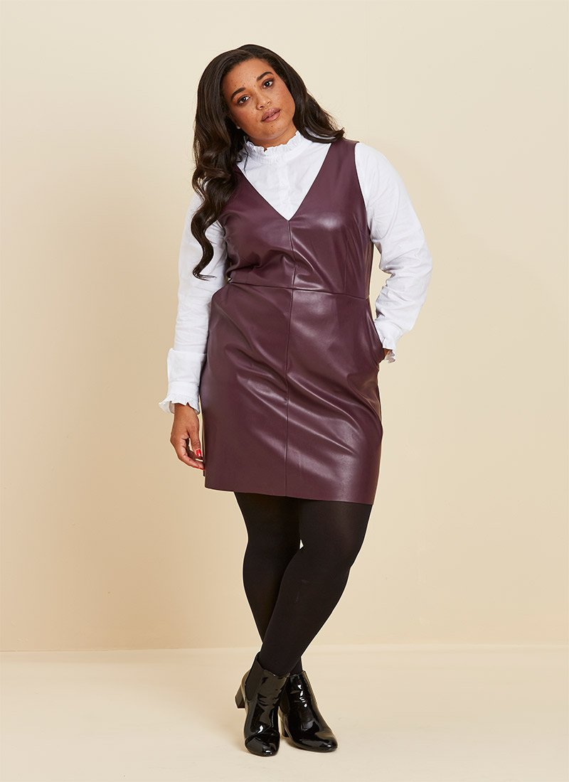 Soho Leather-Look Pinafore Dress Plum Model White Frill Shirt