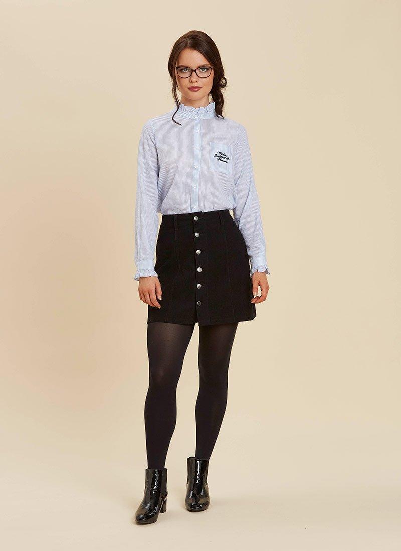 Dorcas Embroidered Slogan Shirt Blue Stripe Model Janet Cord Skirt Front