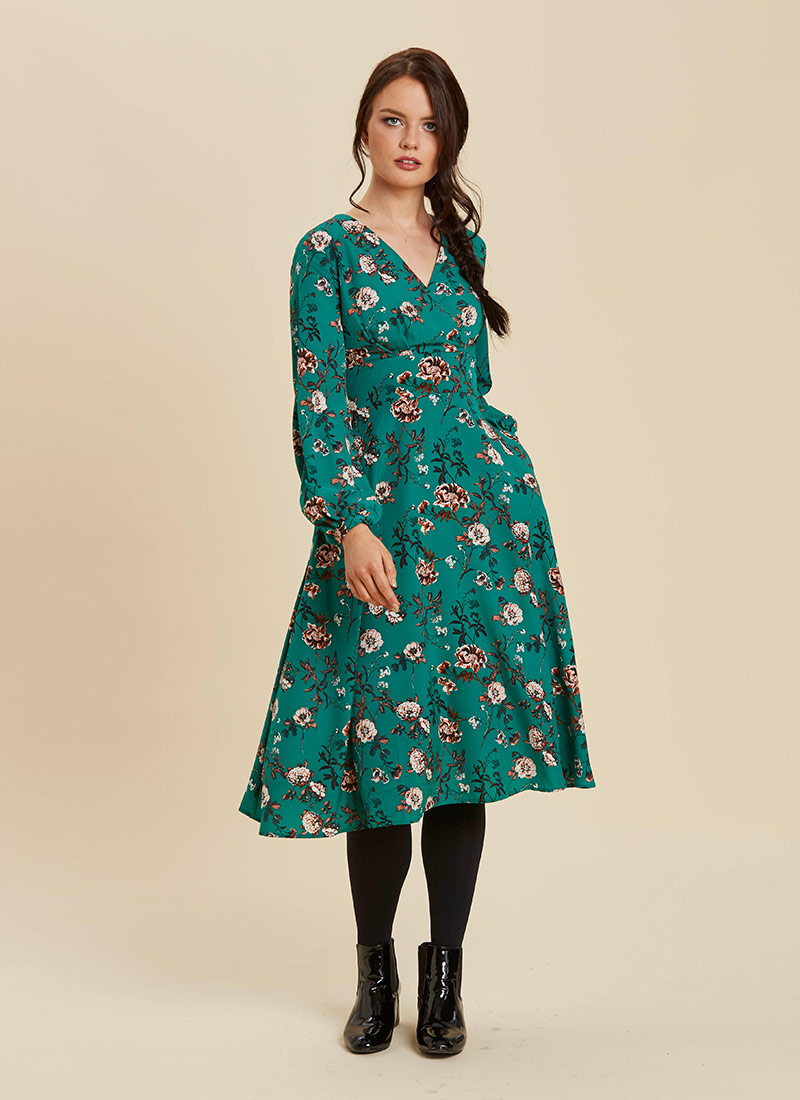 Tiggy Green Floral Print Long Sleeve Midi Dress Full Front View