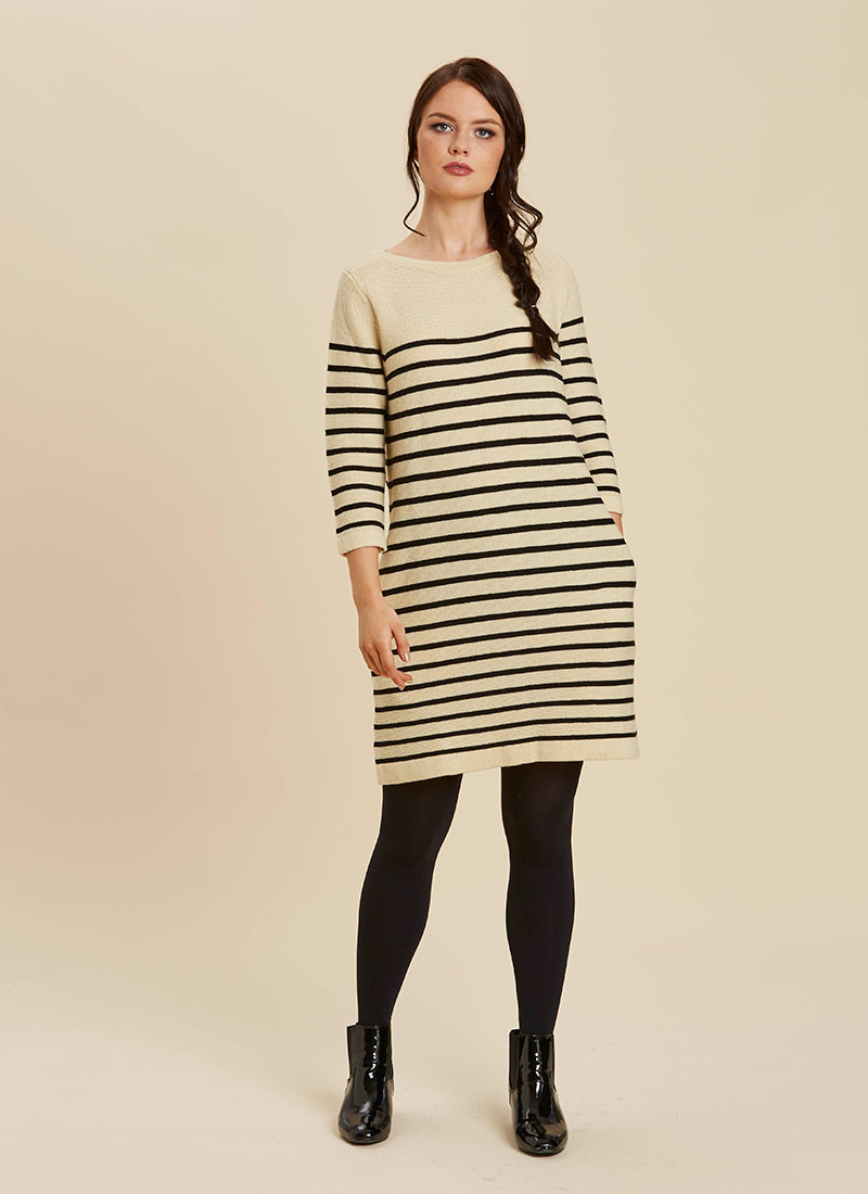 Blair Breton Stripe Jumper Dress Cream Model Front