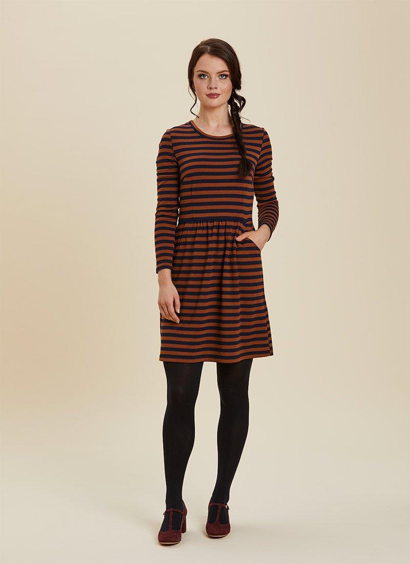 Gigi Brown Breton Stripe Dress Model Front