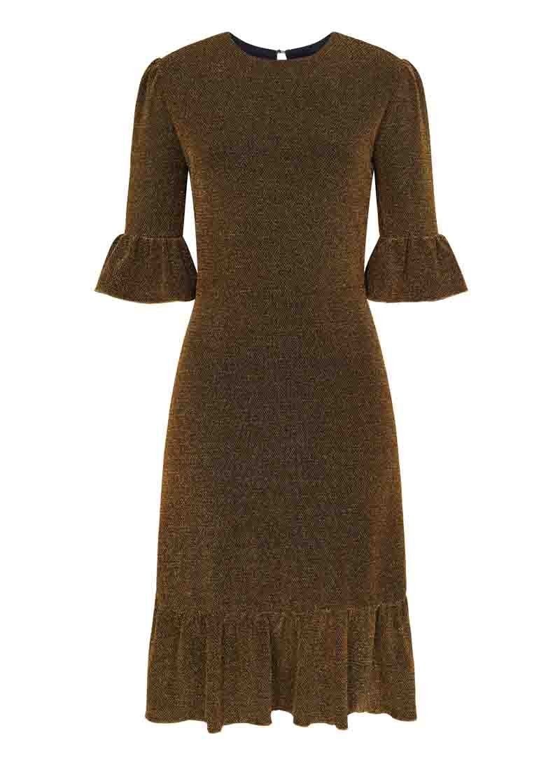 Debbie Gold Metallic Frill Midi Dress Product Front