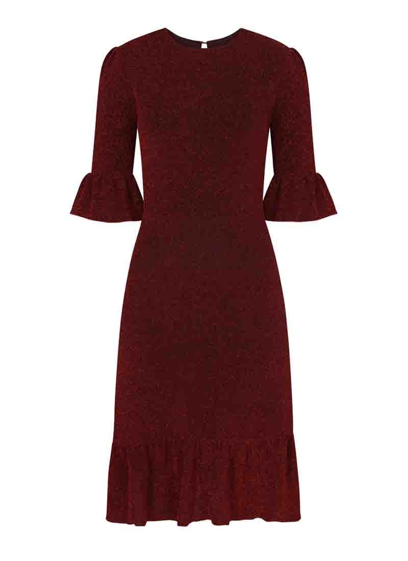 Debbie Metallic Frill Midi Dress Red Product Front