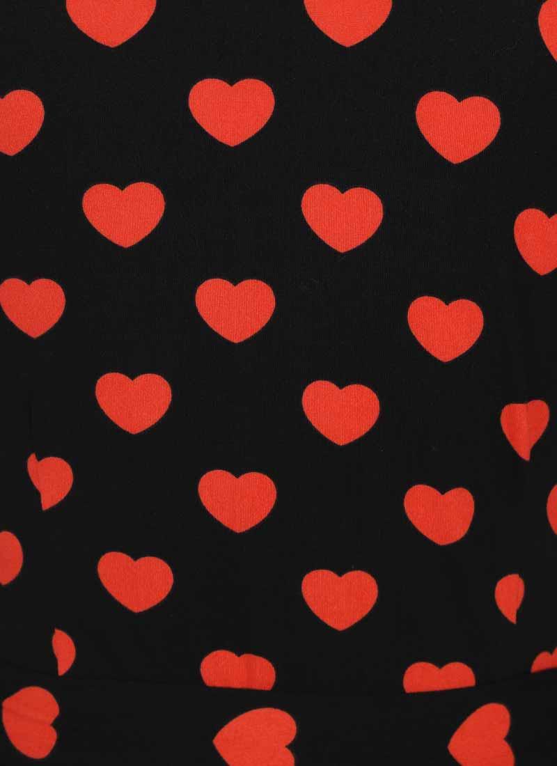 Dent Heart Print Wrap Dress