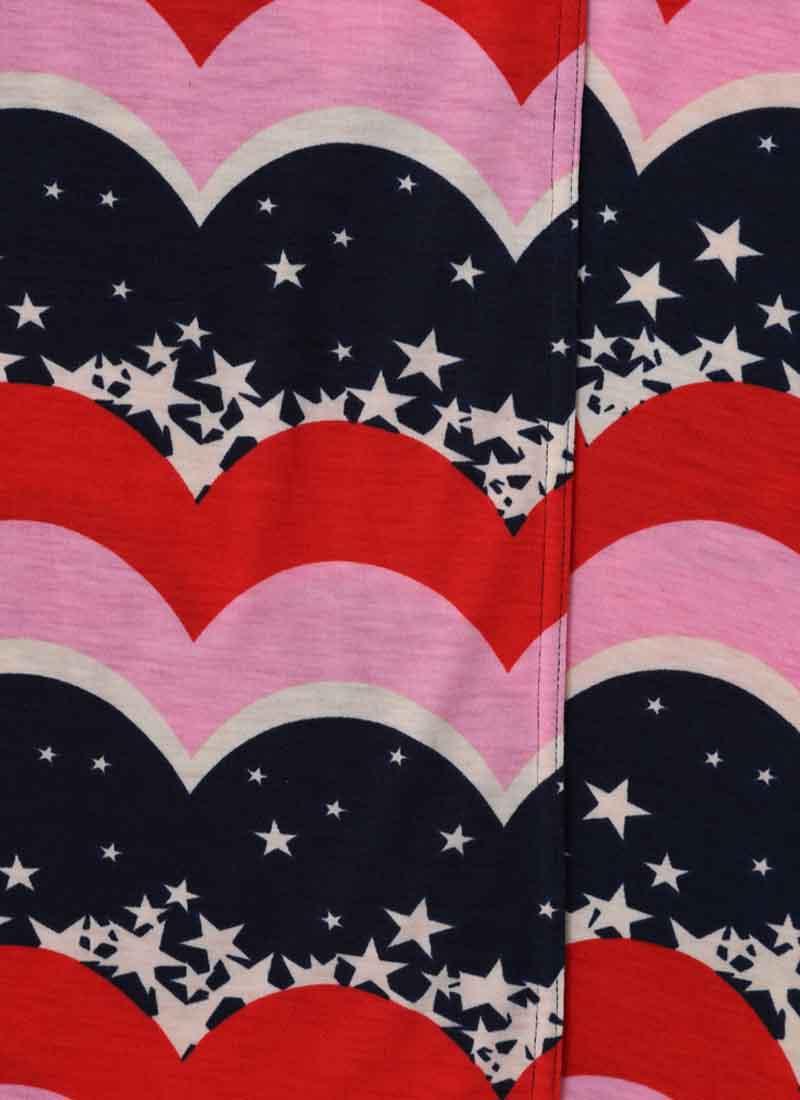 Dent Star & Scallop Stripe Print Wrap Dress