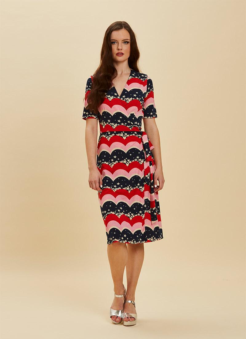 Dent Star & Scallop Stripe Print Wrap Dress Full Front View