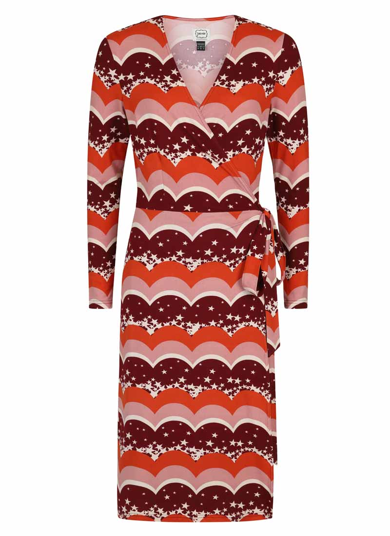 Diane Star & Scallop Long Sleeve Wrap Dress Product Front