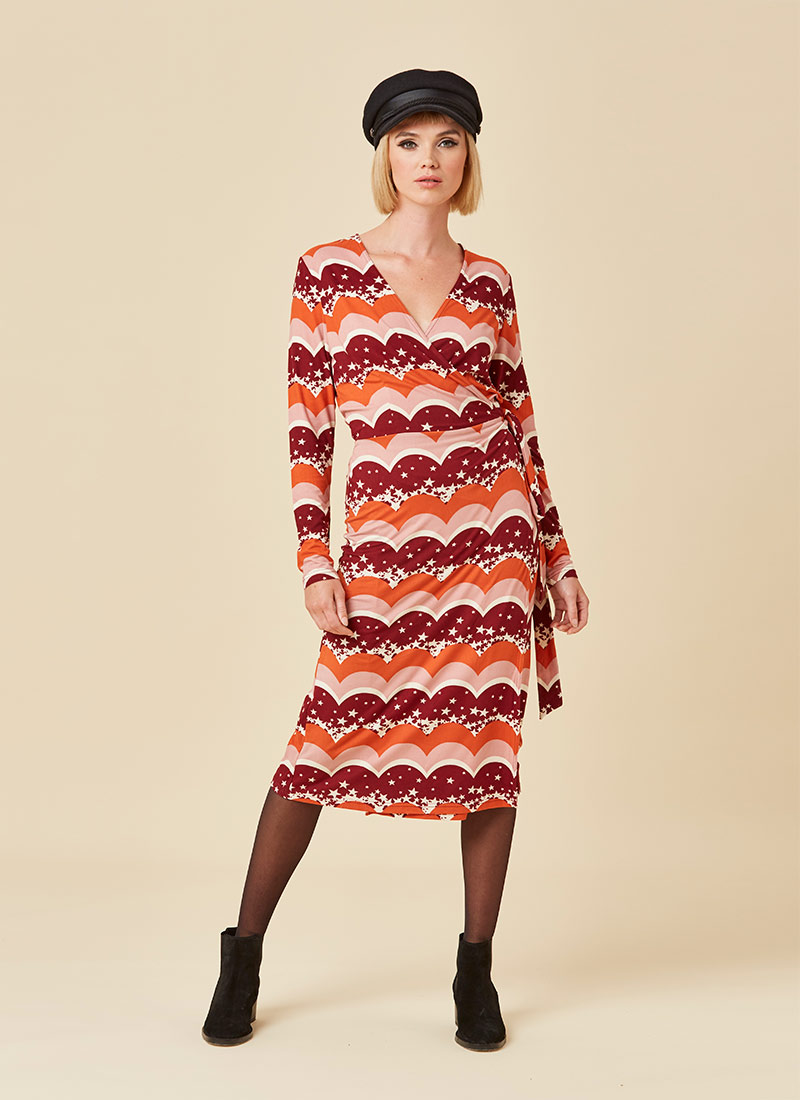Diane Star & Scallop Long Sleeve Wrap Dress