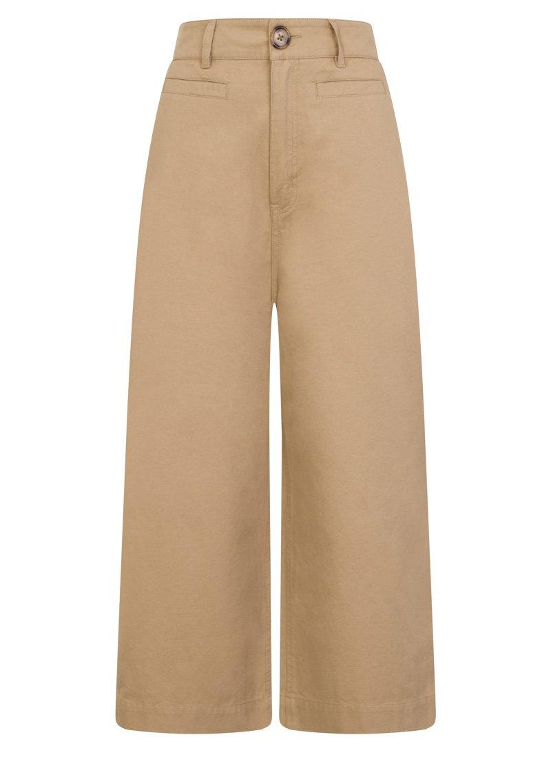 Dietrich Wide-Leg Crop Beige Trousers Product Front