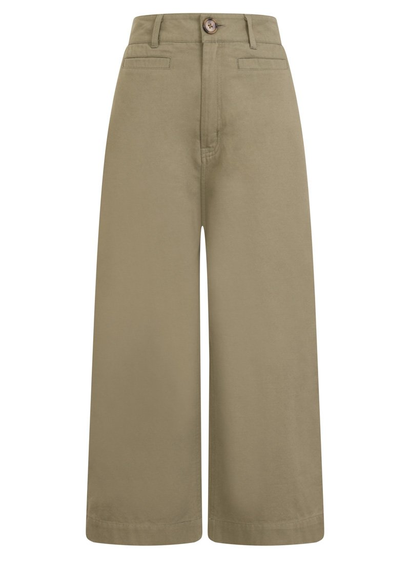 Dietrich Wide leg cropped green trousers product front