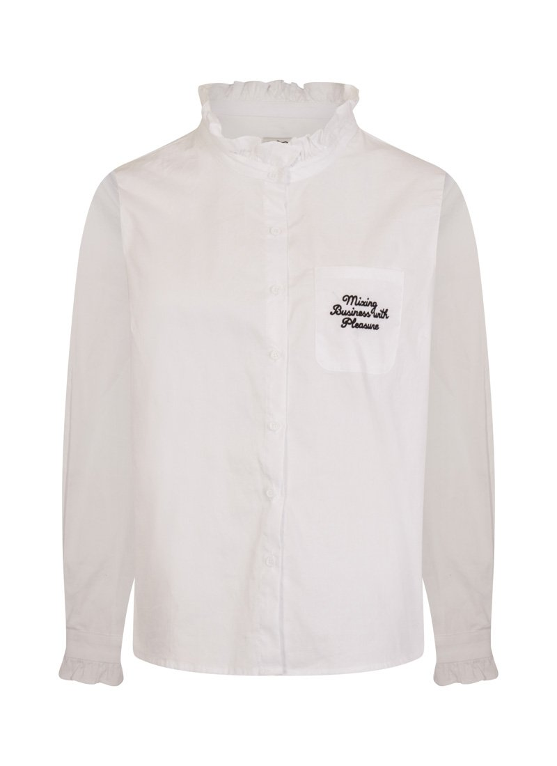 Dorcas Mixing Business With Pleasure Embroidered Slogan Pocket Frill Neck White Shirt Blouse Product Front