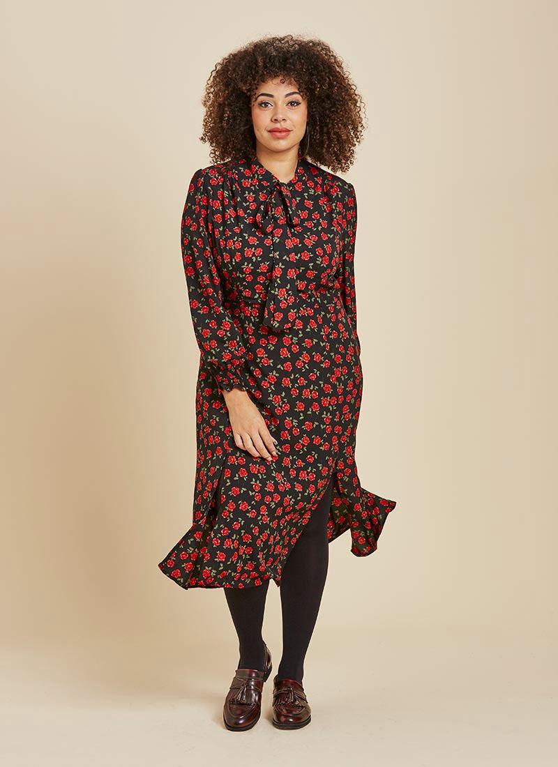 Dorothy Floral Print Midi Dress Model Front