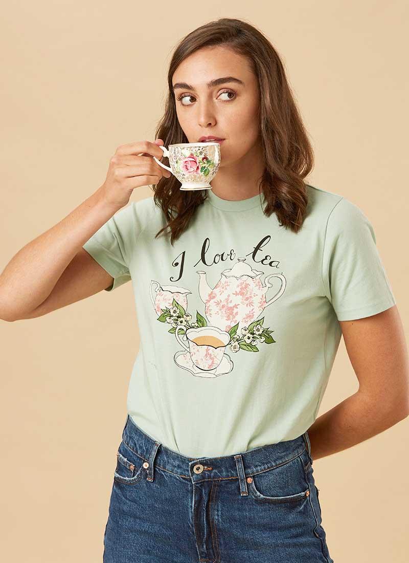 Earl I Love Tea Slogan Tee Model Front