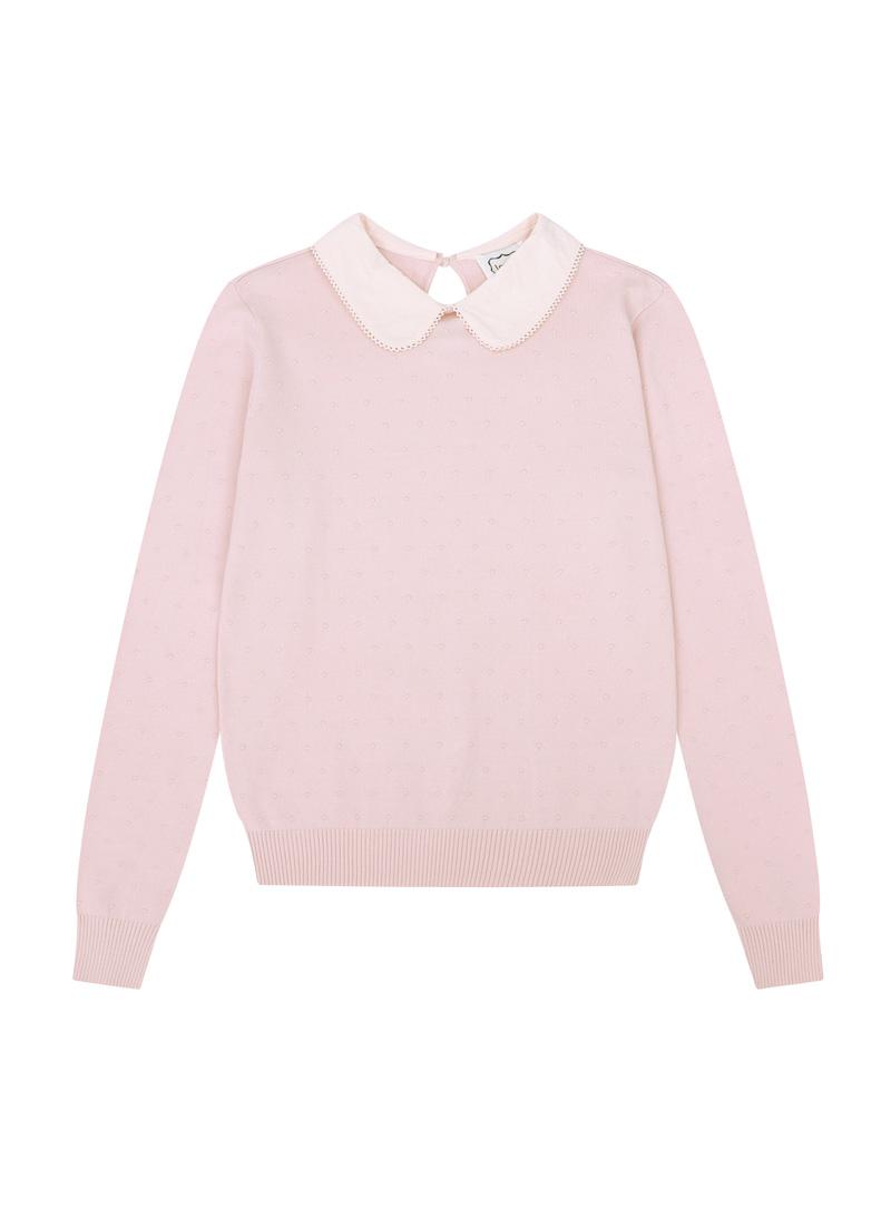 Eliza Pink Peter Pan Collar Jumper Product Front