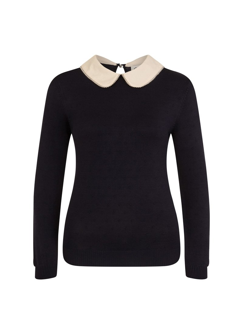Eliza Navy Peter Pan Collar Jumper Product Front