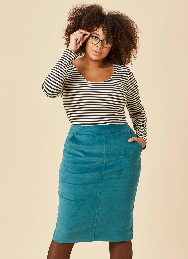 Elle Pocket Pencil Skirt - Blue