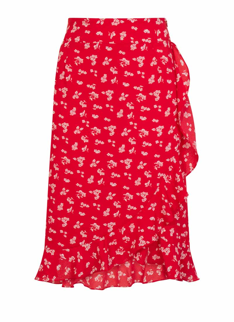 Estelle Red Floral Midi Skirt Product Front