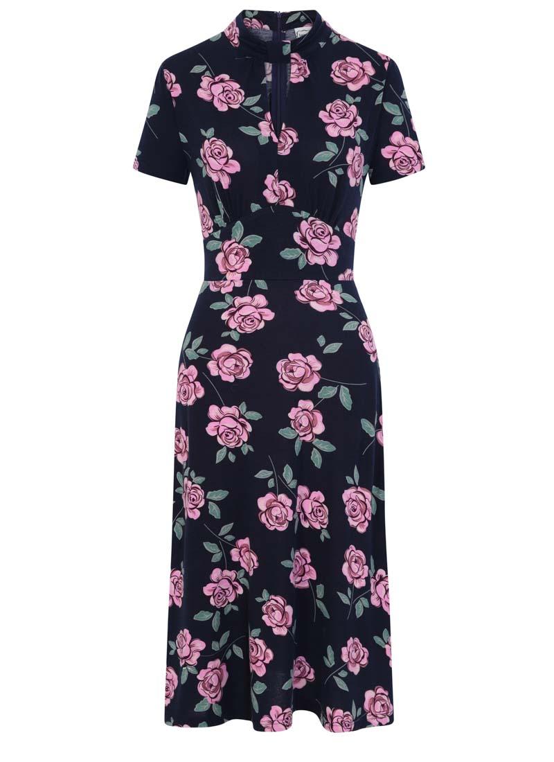 Eugine High Neck Jersey Polka Dot Dress Floral Product Front
