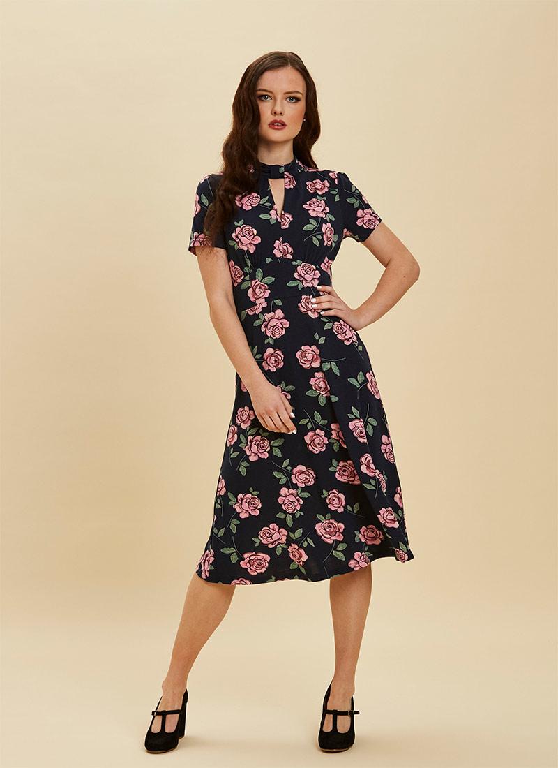 Eugine High Neck Jersey Polka Dot Dress Floral Full Front View