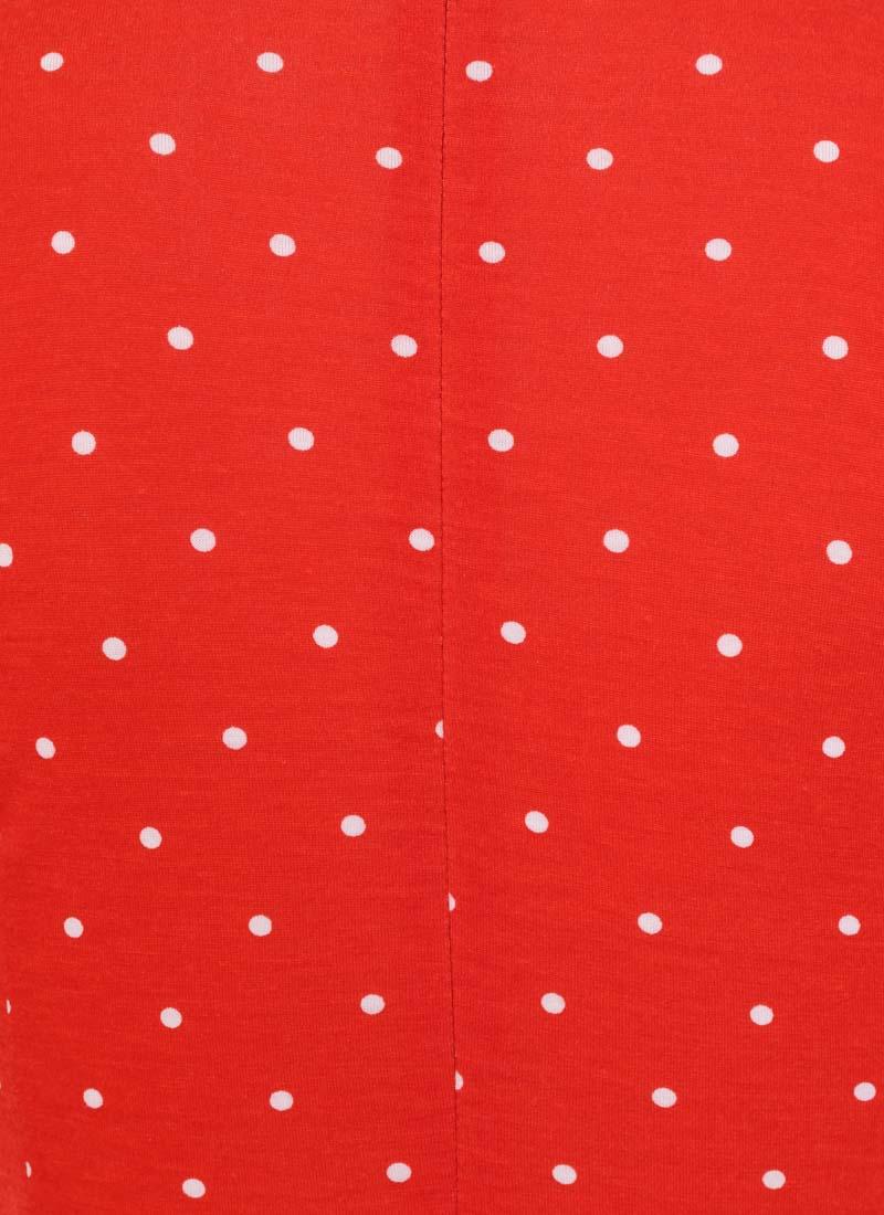 Eugine High Neck Jersey Polka Dot Dress - Red