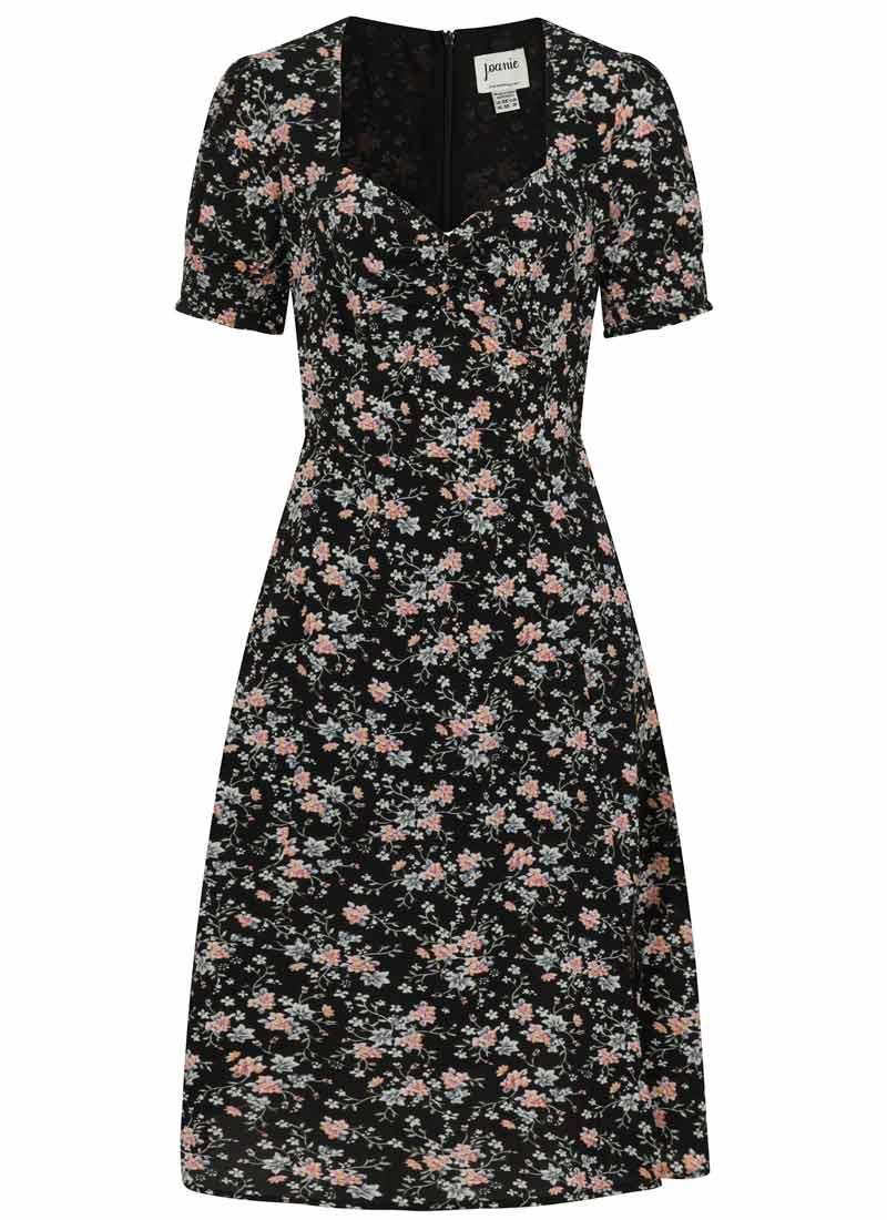 Florrie Dark Floral Ditsy Print Midi Tea Dress Product Front