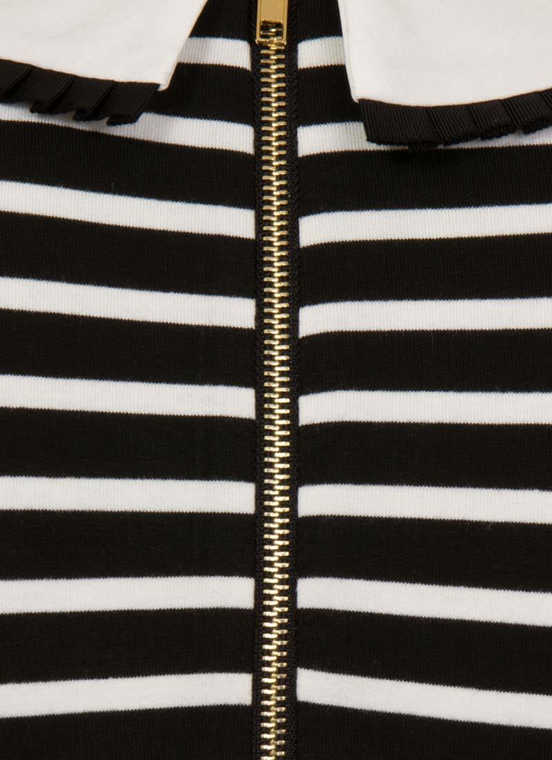 Fritha Breton Stripe Collar Dress – Black