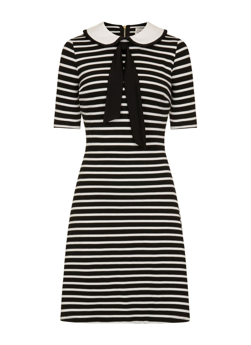 Fritha Breton Stripe Collar Dress – Black