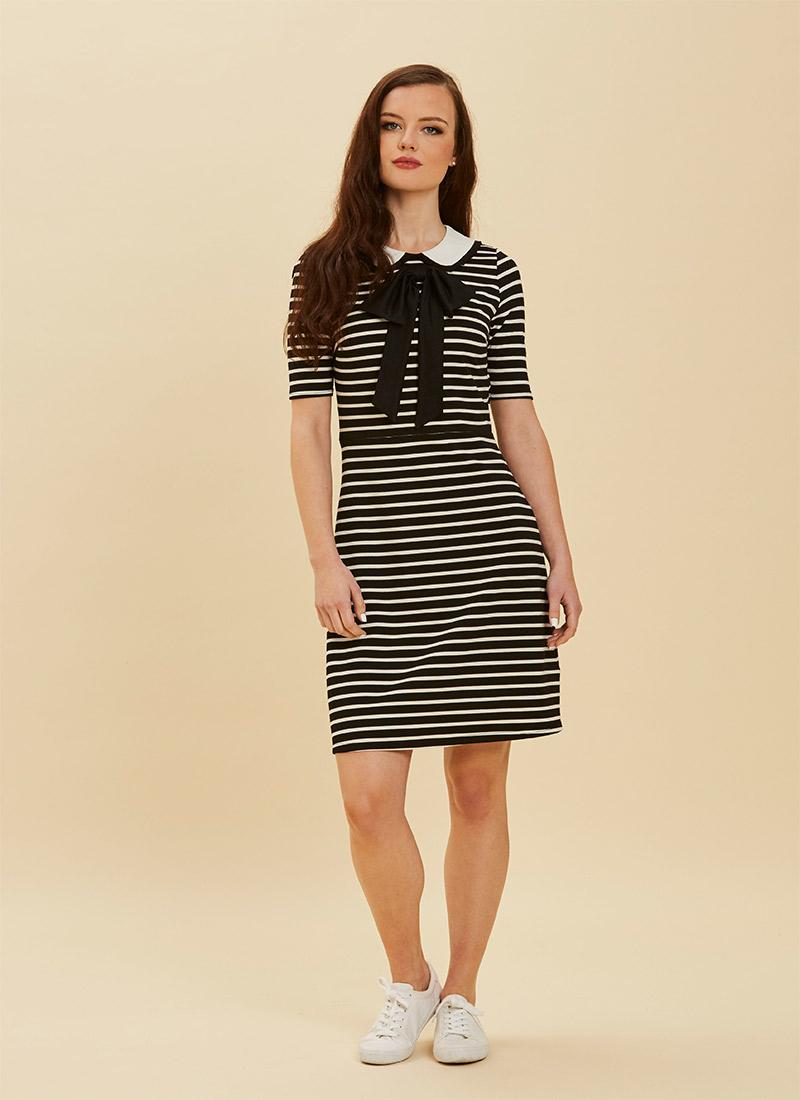 Fritha Black Stripe Collar Dress Full Front View