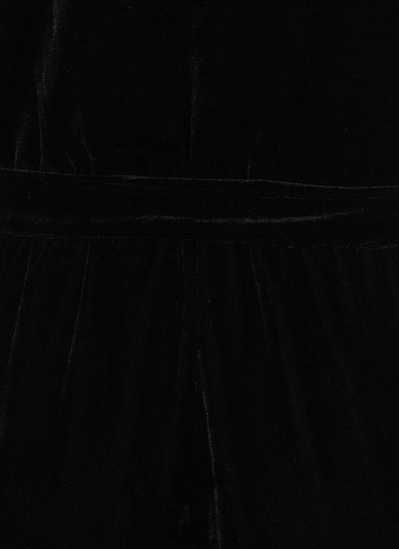Gennaro Wrap Front Velvet Jumpsuit - Black